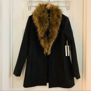 NWT Forever 21 Fur Collar Gray Coat Jacket